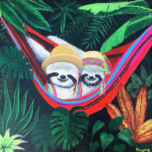 """""""Sloths In Peruvian Hats"""" Print On Canvas"""