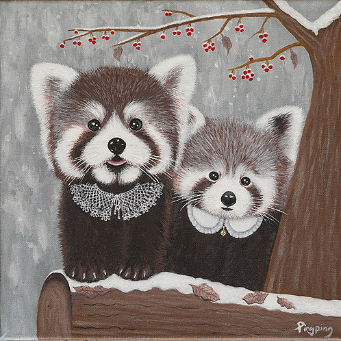 """""""Red Panda Mama And Baby"""" Print On Canvas"""