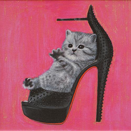 Kitten And Christian Louboutin Print On Canvas