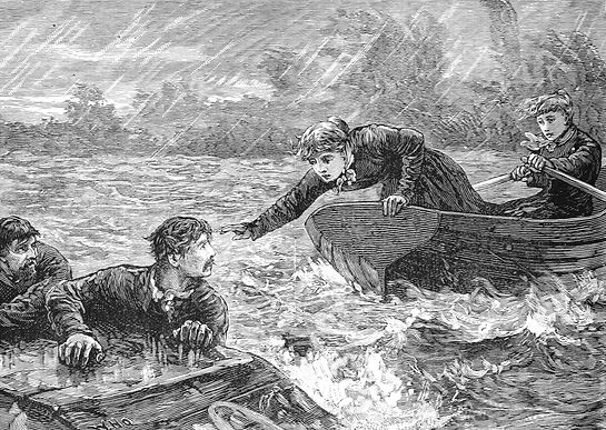 Two women in a rowboat rescue two shipwrecked sailors.