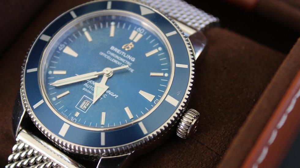 Breitling Superocean Heritage 46mm Blue Bezel, Mesh Bracelet , Ref# A17320