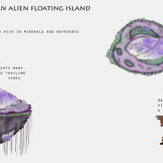 Osmirif an Alien Floating Island, Concept Design, Procreate, 2020