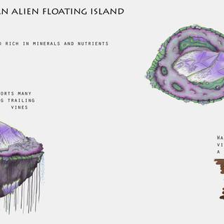 Osmirif an Alien Floating IslandConcept Design, Procreate, 2020