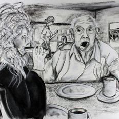 Two Fools in a Cafe, Illustration, Chalk and Charcoal on Watercolour Paper, 2018