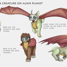 Wigni Pix Creature on Alien Planet, Creature Concept Design, Photoshop, 2020