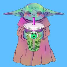 Baby Yoda with Bubble Tea, Illustration, Procreate, 2021