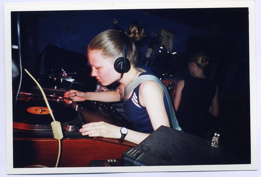 Sally DJing in London 1998