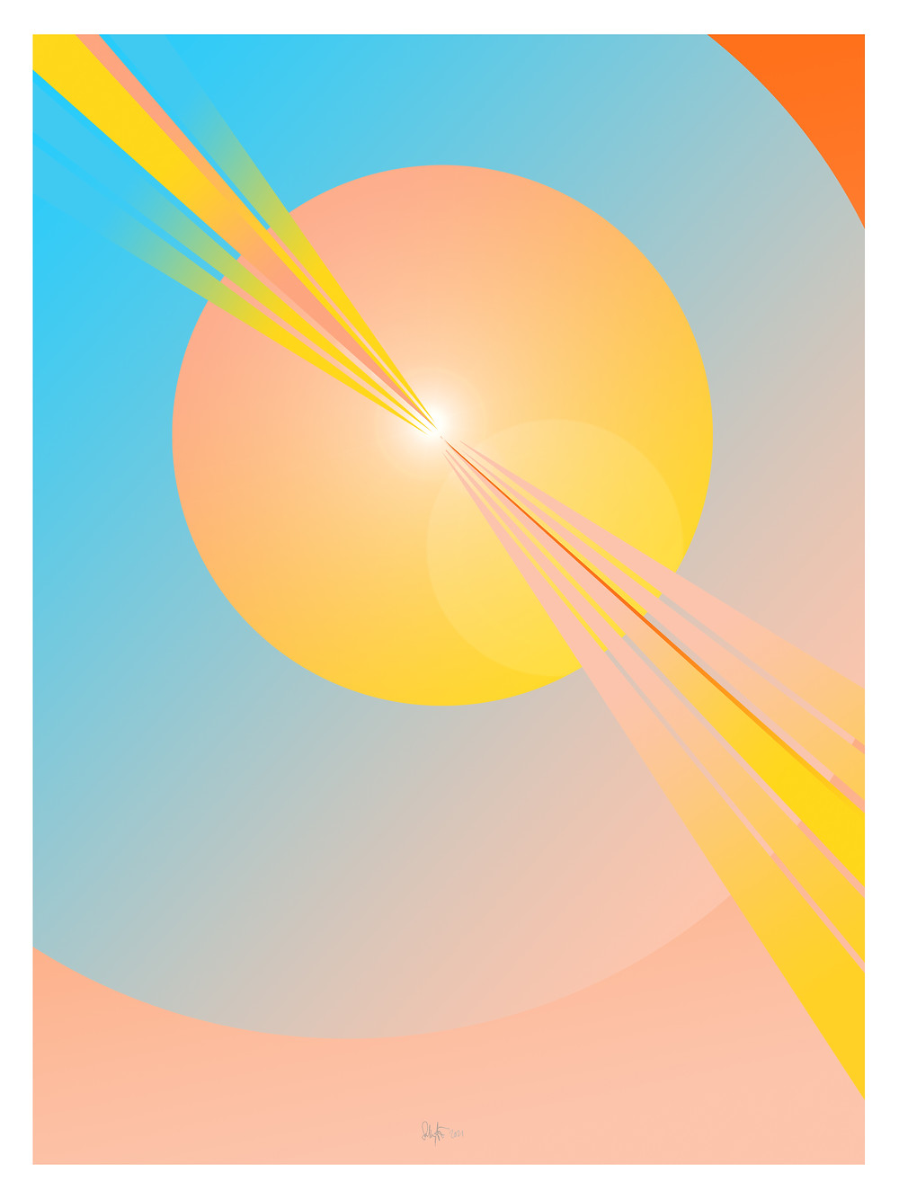 An emotive piece of art by Sally A. Edwards featuring a bright pink and yellow orb with colourful rays and a hued blue sky to make you feel peaceful.