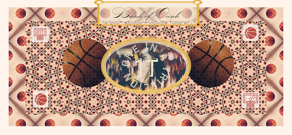 A Bank of Dunk currency note using layers of Basketball photographs made into patterns by Sarah J. Edwards