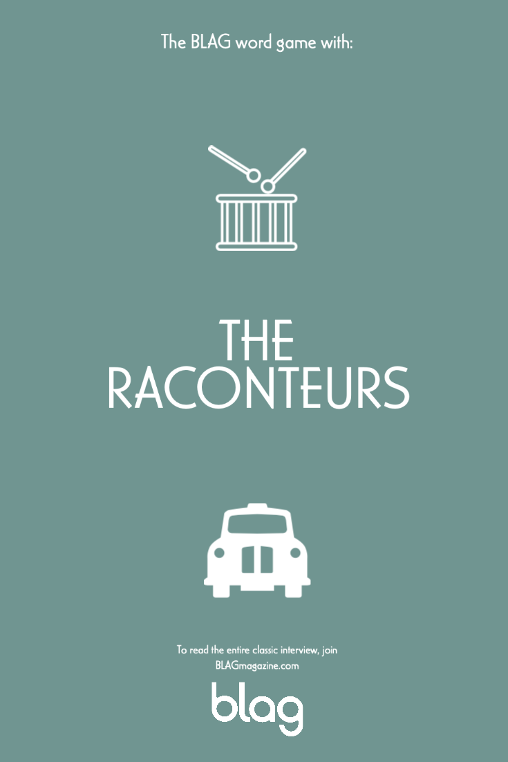 A card with a drum and London taxi, references to stories told by The Raconteurs in their BLAG interview