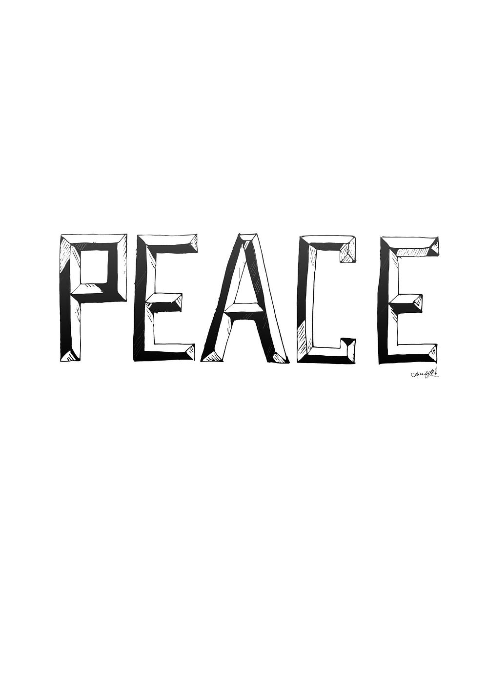 PEACE font hand drawn by Sarah J. Edwards