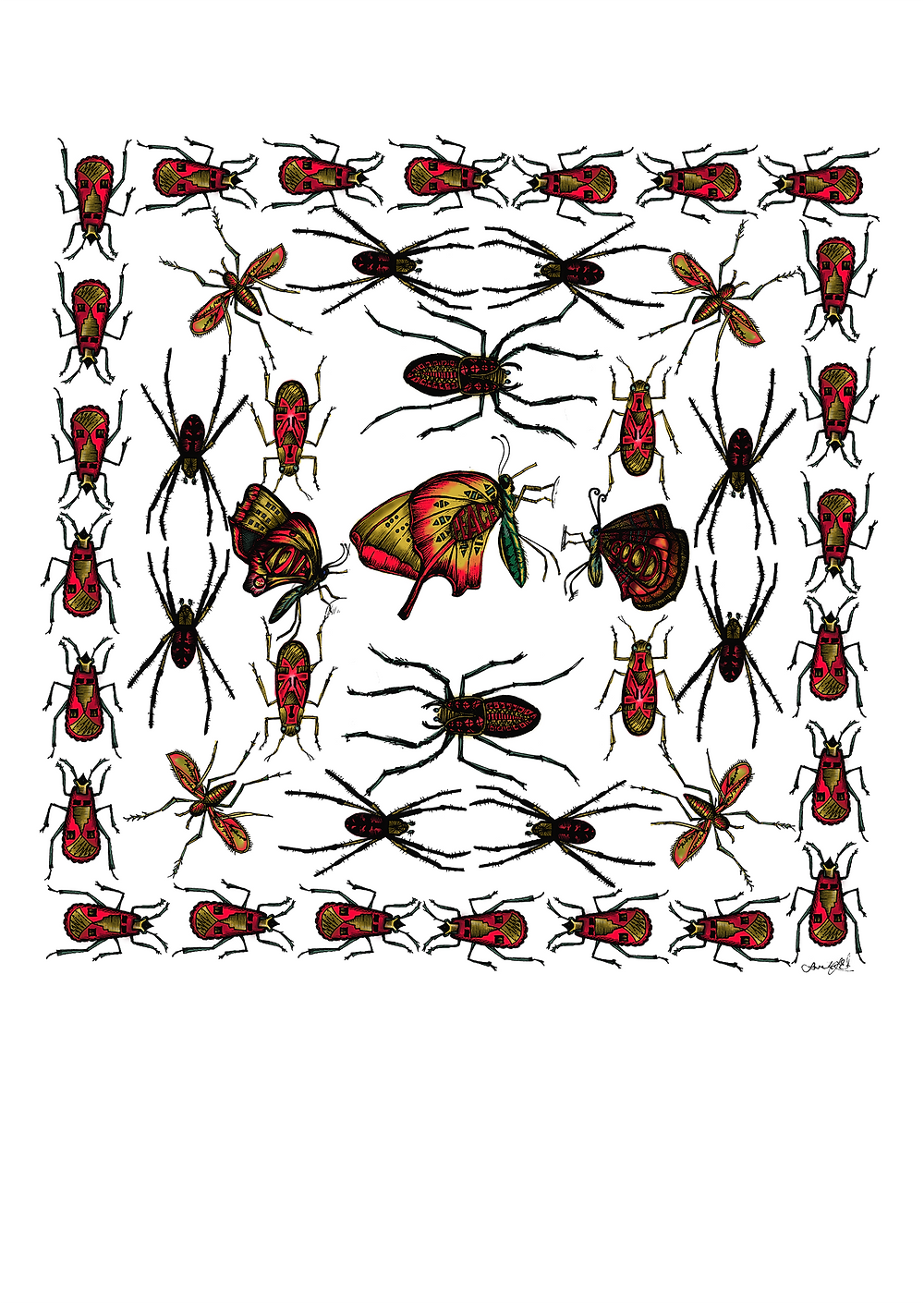 A collection of fictional flies and bugs drawn and painted on computer by Sarah J. Edwards