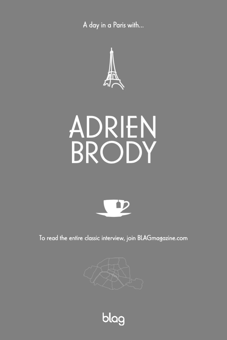 Card with Eiffel Tower in Paris, Adrien Brody text, cup of tea and link to www.blagmagazine.com