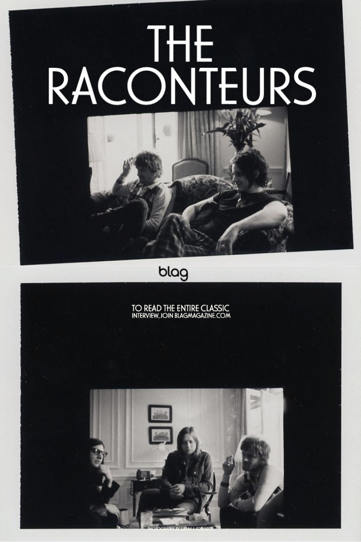 Two black and white instant photos of The Raconteurs being interviewed by Sally A. Edwards for BLAG
