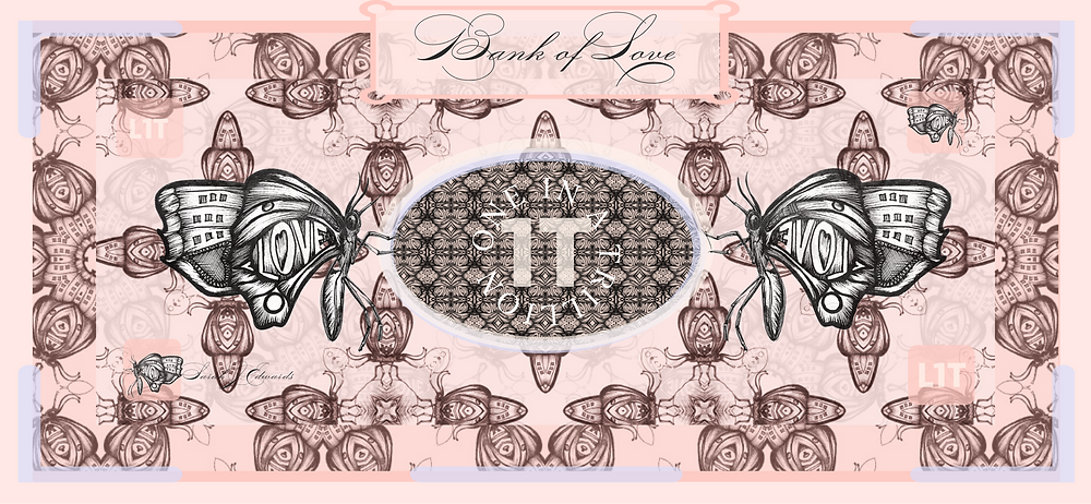 A Bank of Love currency note using layers of Moth drawings made into patterns by Sarah J. Edwards