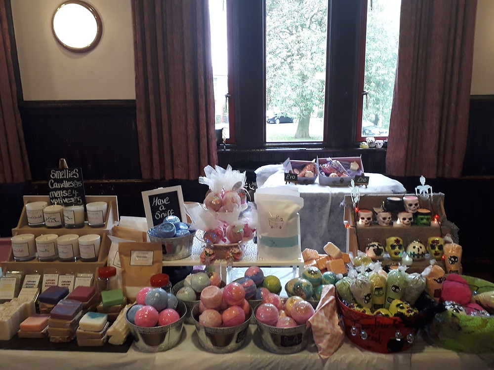 Photograph of bath bombs and candles.