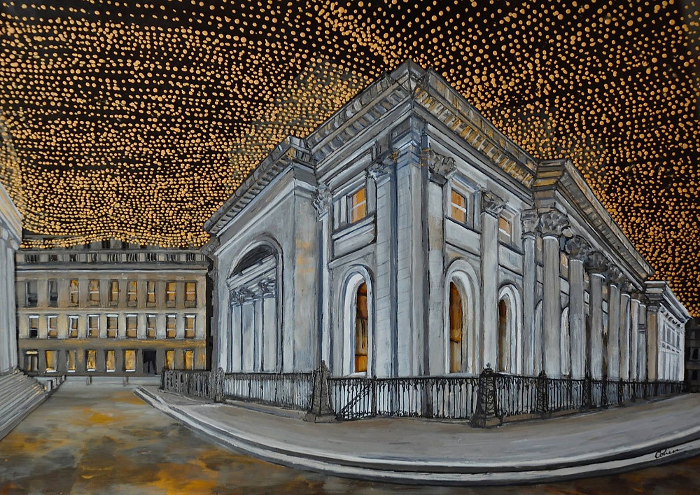 A painting of the Gallery of Modern Art in Glasgow