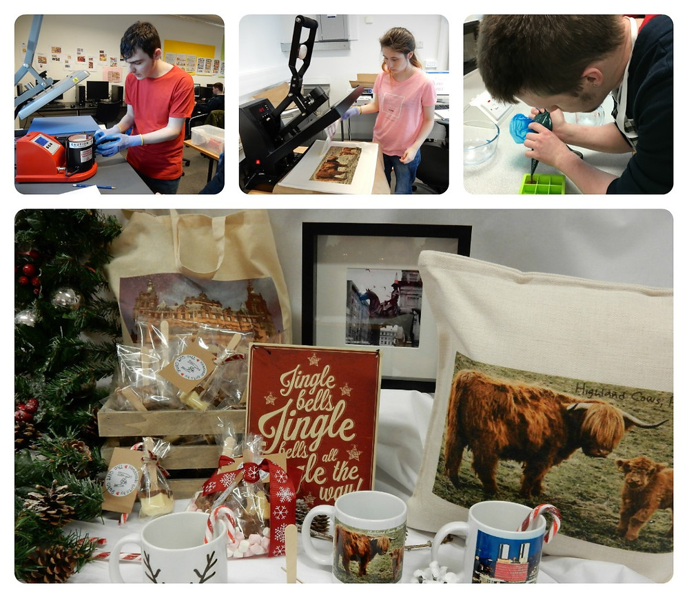 Students from the Skills for Life and Work programme creating their products