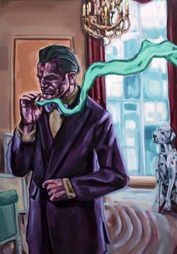 A man smoking with dog