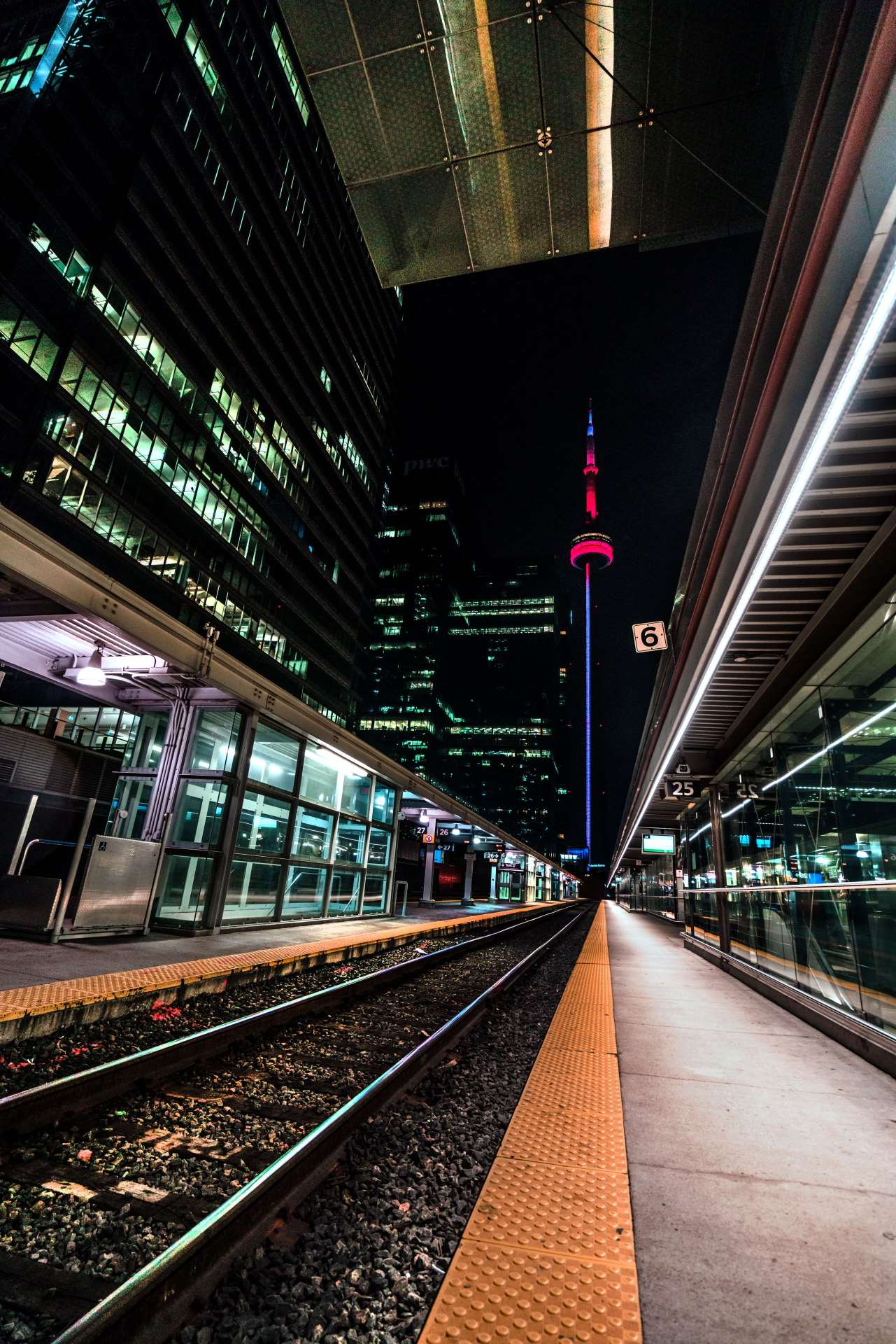 City Train Tracks Toronto CN Tower