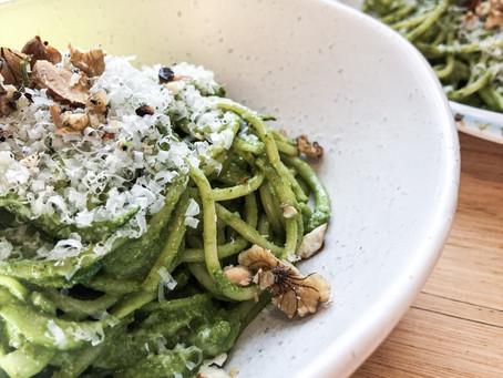 Green Spaghetti with Carrot top & Silverbeet Pesto