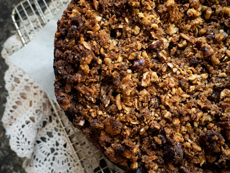 Sticky Date Cake with Poached Pears & A Sourdough Crumb