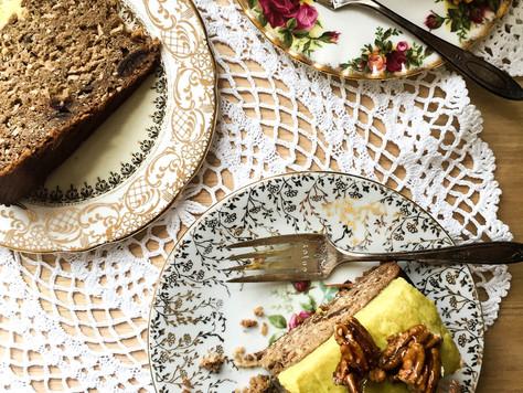 Banana, Date & Coconut Cake with Spiced Tahini Icing & Pecan Praline