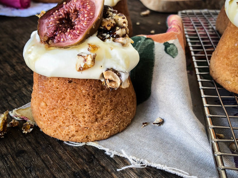 Lemon Scented Baby Cakes with Honey-Roasted Figs & Goats Cheese Curd. And a recipe for Fig &