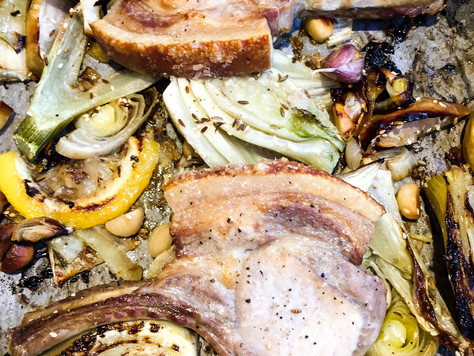 One Pan Roast Pork with Fennel, Apple & Macadamias
