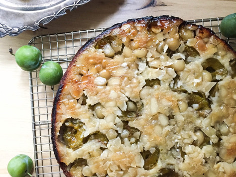 A Lovely Upside-Down Greengage Plum Cake with a Cardamom Honey Syrup