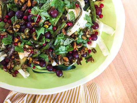 Zucchini, Asparagus & Grape salad with a lemony Dijon dressing