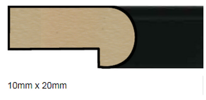 Corss section view of a black block mount edging.