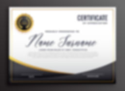Certificate template in gold and black