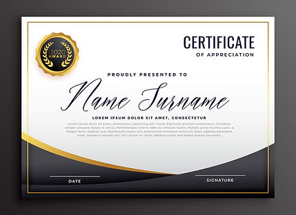 Certificate template in gold and black - Designed by Lazer Art & Frame.