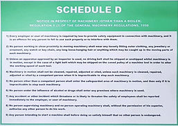 Laminated A3 poster of the Schedule D, General Machinery Regulations, Gauteng, Johannesburg, Sandton, Germiston, Randburg, Malvern