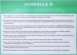 Laminated A3 poster of the Schedule D, General Machinery Regulations, Gauteng, Johannesburg, Sandton, Germiston, Randburg, Malvern