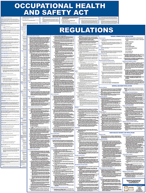 Laminated A1 poster of the OHSA, Occupational Health & Safety Act with Regulations, Gauteng, Johannesburg, Sandton, Germiston, Randburg, Malvern 2021