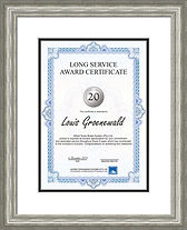 Framed service award, silver frame white and black mount