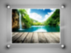Acrylic frame less, plexiglass frame with a print inside showing a waterfall. Brushed stainless steel corner posts.