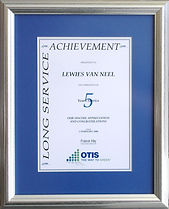 Silver A4 award frame with a blue mounting border