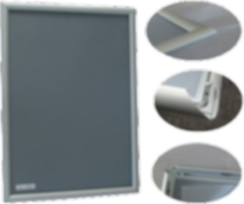 Picture of an Aluminum snapper type or clip style of frame.