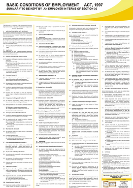 BCEA - Summary of the Basic Conditions of Employment poster - A1 Chart BCEA 2021