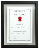 Float mounted A3 certificate in a black box frame.