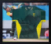 Box framed cricket shirt, cricket picture as background. Black frame