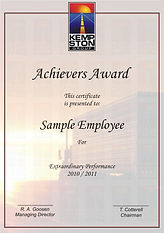 Corporate long service certificate.