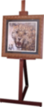 Wooden display easel for hire with frame.