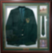 Box framed athletics blazer with tie and photos. Greenmount with bead slip, gold frame