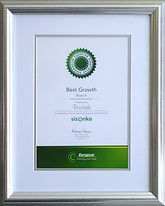 Performace certificate in silver frame with a white mounting