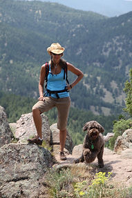 Hiking with a Australian Labradoodle dog in Colorado