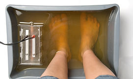 foot bath with brown water